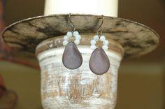 Rich Lavender Glass Bead Vintage White Opal English by MemesShoppe, $16.00