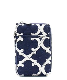 Geometric Quilted Mini Wallet Wristlet Navy