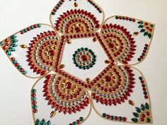 Five petals Rangoli in Red and Green - 6 pieces