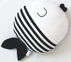 Nordic Style Polka Dot + Striped Kiss-Kiss Fishies Cotton Pillow & Stuffed Plush Toy - Children's Room Decor