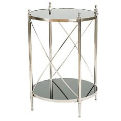 "Renard Side Table 27 1/2""H X 19 1/2""W X 19 1/2""D $179 Brass, stainless, mirror, aluminum & MDF"