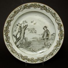 An 18th Century Chinese Export Porcelain Plate, Qianlong Period c.1750. Finely Painted in En Grisaille with `Le Pêcheur` After A.Bloemaert