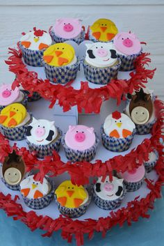 Farm Animal Cupcake Topper Variety One by Clementinescupcakes