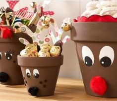 Paint flower pots, make antlers out of card stock and add googly eyes and bells. Great for holding treats at holiday parties!