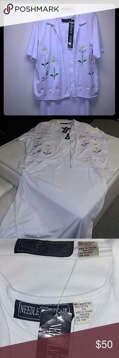 2pc White dress set 2pc White jacket dress set,short sleeves jacket.tanked top 60%polyester 35%cotton Needle & Threads Dresses Maxi