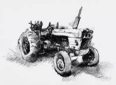 One of my sketch a day drawings Old tractor #art #drawing #farm #old #sketch #tractor