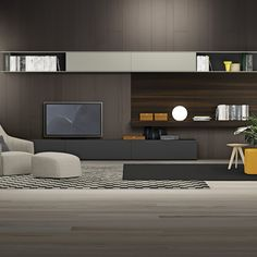 Watching TV has been the central activity in the living room .So how to decorate the TV wall drives ideas and dedication of many DIY people. Living Room Tv, Living Room Modern, Living Room Interior, Home And Living, Living Room Designs, Tv Wall Design, House Design, Deco Tv, Espace Design