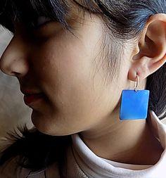 titanium earringsquare earringblue earringminimal by atermono