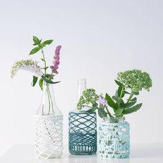 Organic Cotton Lace Covered Jar Vase Lantern/ Summer by ekawear