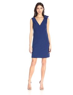 Donna Morgan Women's Sleeveless V-Neck Crepe Dress with Shoulder Bow Detail * Remarkable product available now. : Dresses for women