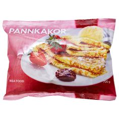 IKEA - PANNKAKOR, Pancakes, frozen, Pancakes are as good as a light meal as they are as a dessert. Heat and serve with raspberry or strawberry jam and a dollop of whipped cream. Swedish Recipes, Weird Food, Strawberry Jam, Raspberry, Vegetable Side Dishes, Light Recipes, Original Recipe, Food Preparation, Clean Eating Snacks