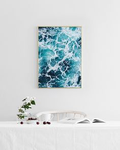 Stylish poster with photo of ocean