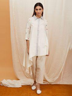 Off White Khadi Asymmetric Shirt