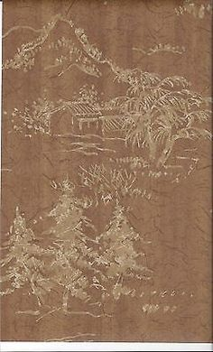 Two-Tone-Gold-Asian-Scenes-On-Cocoa-Brown-Faux-Crackle-Wallpaper-MC099655