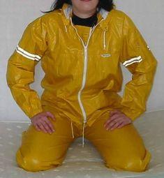 Agu rainwear from The Netherlands original rubber coated rainwear suit Nylons, Cycling Outfit, Cycling Clothing, Rubber Raincoats, Yellow Raincoat, Pvc Coat, Rain Wear, Catsuit, Rain Jacket