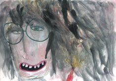 Nerd Outsider art, Weird art, original portrait painting, original art, gift for friend, original painting, portrait art, drawing original, whimsical drawing, marker and pen, unique artwork, illustration weird One of a kind original drawing. MONA LINA My weird friend series One of a kind,