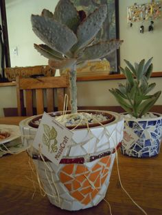 my mosaic pots and keyhanger in the background