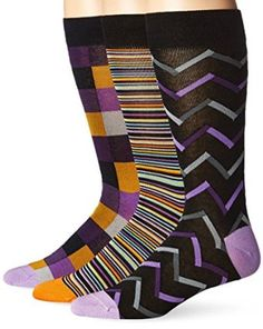 Tallia Men's 3 Pack Striped Patchwork with Design, Crew Socks, Purple, One Size/10-13) at Amazon Men's Clothing store: