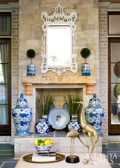 The Glam Pad: Design Crush: Parker Kennedy Living Blue And White China, Blue China, Porches, Beach Chic Decor, Atlanta Homes, Atlanta Buckhead, Chinoiserie Chic, Faux Bamboo, Fireplace Design