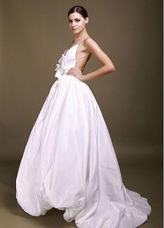 Stunning Taffeta Ball Gown Deep V-neck Backless Wedding Gown With Handmade Flower by Dressilyme.com