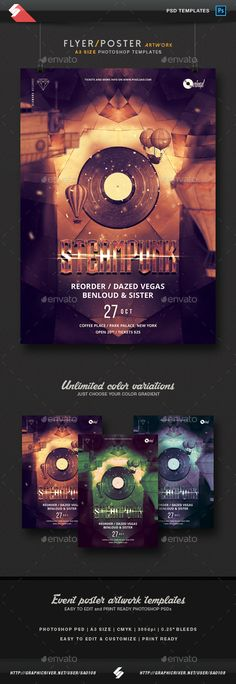 Steampunk Session - Party Flyer / Poster Template A3  — PSD Template • Only…