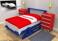 car bedroom set - This car bedroom set concept by Dave Delisle is the ultimate bedroom for boys who love their toys. The room is completely infused with car mechanic...