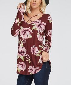 This Wine Floral Criscross Top is perfect! #zulilyfinds