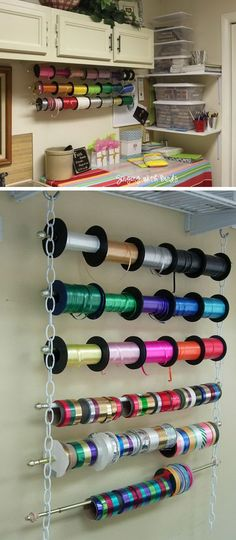Make a wrapping ribbon organizer with chains, cafe style curtain rods and hooks. It looks great and is so functional.