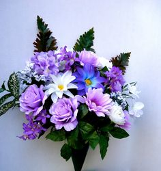 Cemetery Arrangement in Cone Holder, Silk Floral Graveside Flowers, Memorial Flowers  About this Product:  The arrangement features beautiful