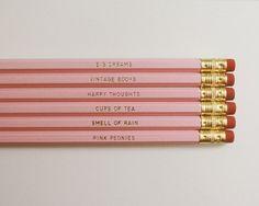 Necessities Pencils. Set of 6. White. Pink di MissPoppyDesign, $12.00