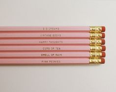 some of my favorite things - Necessities Pencils. Set of 6. Pink pencils by MissPoppyDesign, $12.00