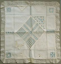 TRULY SUPERB! C. 1920 BELGIAN NEEDLEWORK SEWING LACE SAMPLER BRODERIE ANCIENNE