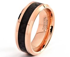 Rose Gold Wedding Band 18K Mens Tungsten Carbide Wedding Ring 8mm Custom 5-15 Half Sizes Black Carbon Fiber Inlay Comfort Fit Polish Bevel