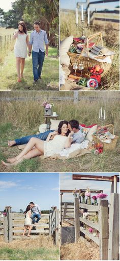 Although these would not be engagement photos, I like the fence, basket set up and open space.