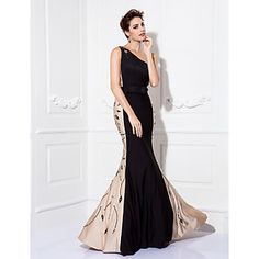 TS Couture Formal Evening / Prom / Military Ball Dress - Black Plus Sizes / Petite Trumpet/Mermaid One Shoulder Floor-length Jersey – USD $ 169.19