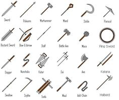 I'm thinking either the katana, or bastard sword as my main weapon, and then a staff and some hidden sai, yes that sounds nice :-) Drawing Tips, Drawing Reference, Bastard Sword, Battle Axe, Medieval Weapons, Weapon Concept Art, Medieval Times, Fantasy Weapons, Anime Weapons