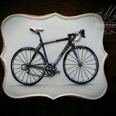 Roysl icing bicycle #bicycle#canyon#cookie #cookiedecorating #handmade #royalicing #instagood #black #blackandwhite #mezesmanna