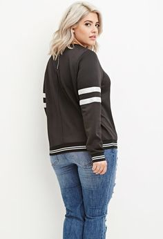 Plus Size Varsity-Striped Scuba Knit Sweatshirt | Forever 21 PLUS - 2000179049