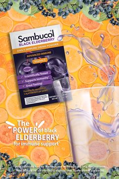 Enjoy Sambucol Advanced Immune Powder Drink Packets all month in this convenient 30 count size. Easily get your Black Elderberry on the go by simply adding the contents of a packet to a bottle or glass of water. Let dissolve for a great-tasting drink that is formulated to combine the power of Elderberry and Vitamin C. Elderberry Powder, Sambucol Black Elderberry, Elderberry Benefits, Nut Free, Dairy Free, Calcium Phosphate, Beetroot Powder, Vegan Friendly, Vitamin C