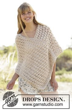 Creme Caramel / DROPS - Knitted DROPS poncho with lace pattern in 1 thread Cloud or 2 threads Air Nordic Mart - DROPS design one-stop source for Garnstudio yarns, free crocheting and knitting patterns, crochet hooks, buttons, knitting needles and notions. Crochet Gratis, Free Crochet, Knit Crochet, Crochet Tops, Ravelry Crochet, Crochet Sweaters, Irish Crochet, Crochet Summer, Crotchet