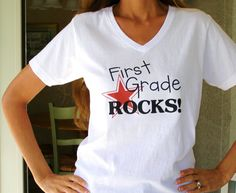 "Free iron-on printables: ""[Grade] rocks!"" for kindergarten through fifth grade and a ""Happy 100th day of school!"" as well."