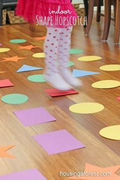 Indoor Games for kids ~ Shape Hopscotch is a fun Gross motor game, teaches shapes and colors Gross Motor Activities, Gross Motor Skills, Indoor Activities, Toddler Activities, Preschool Activities, Toddler Games, Children Games, Shape Activities, Summer Activities