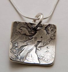 Jessie Driscoll ... Coin Silver Square Dot Pendant Made from Vintage US Silver Half Dollar Coin