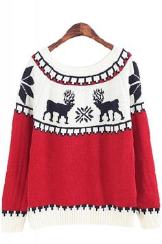 Love this Ski Sweater! Deer Print Contrast Color Round Neck Long Sleeve Pullover Holiday Ski Sweater #Reindeer #Winter #Holiday #Ski #Sweater