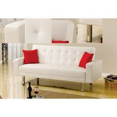 Best Master Furniture Modern Comfort Soft White Faux Leather Arm Futon Sofa Bed Sleeper Chrome Legs