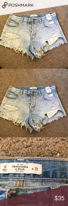 NWT A&F Distressed Denim Shorts Size 8 Who's ready for summer!? 😊 ☀️   New with the tags, perfect condition. Abercrombie & Fitch Shorts Jean Shorts