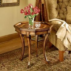 Octagon Side Table - Connoisseurs - 293090. Octagon Side Table - Connoisseurs - 0293090 Crafted from select solid woods with choice veneers inlay on top Product Specifications Dimensions 24 W x 24 D x 26 H (inches) Finish_Material Connoisseurs Usually sh.. . See More Side Tables at http://www.ourgreatshop.com/Side-Tables-C689.aspx