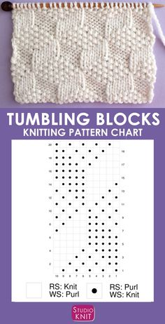 This Tumbling Moss Block Stitch Knitting Pattern creates an illusion with 3 various textured patterns with a Repeat of knits and purls. This Tumbling Moss Block Stitch Knitting Pattern creates an illusion with. Knitting Stiches, Knitting Charts, Knitting Needles, Knitting Patterns Free, Knit Patterns, Free Knitting, Stitch Patterns, Knit Stitches, Sock Knitting