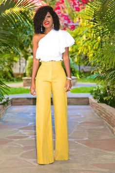 One Shoulder Ruffle Top + High Waist Wide Leg Pants
