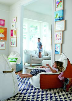 These bean bag chairs are an upgrade in appearance, but still allow for easy kid proof furniture.